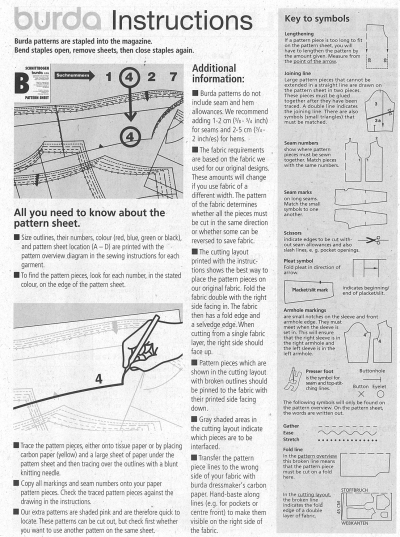 Burda Instructions Page
